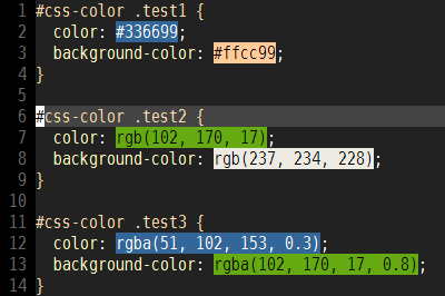 rgb()/rgba()に対応したCSS color previewのプレビュー画像