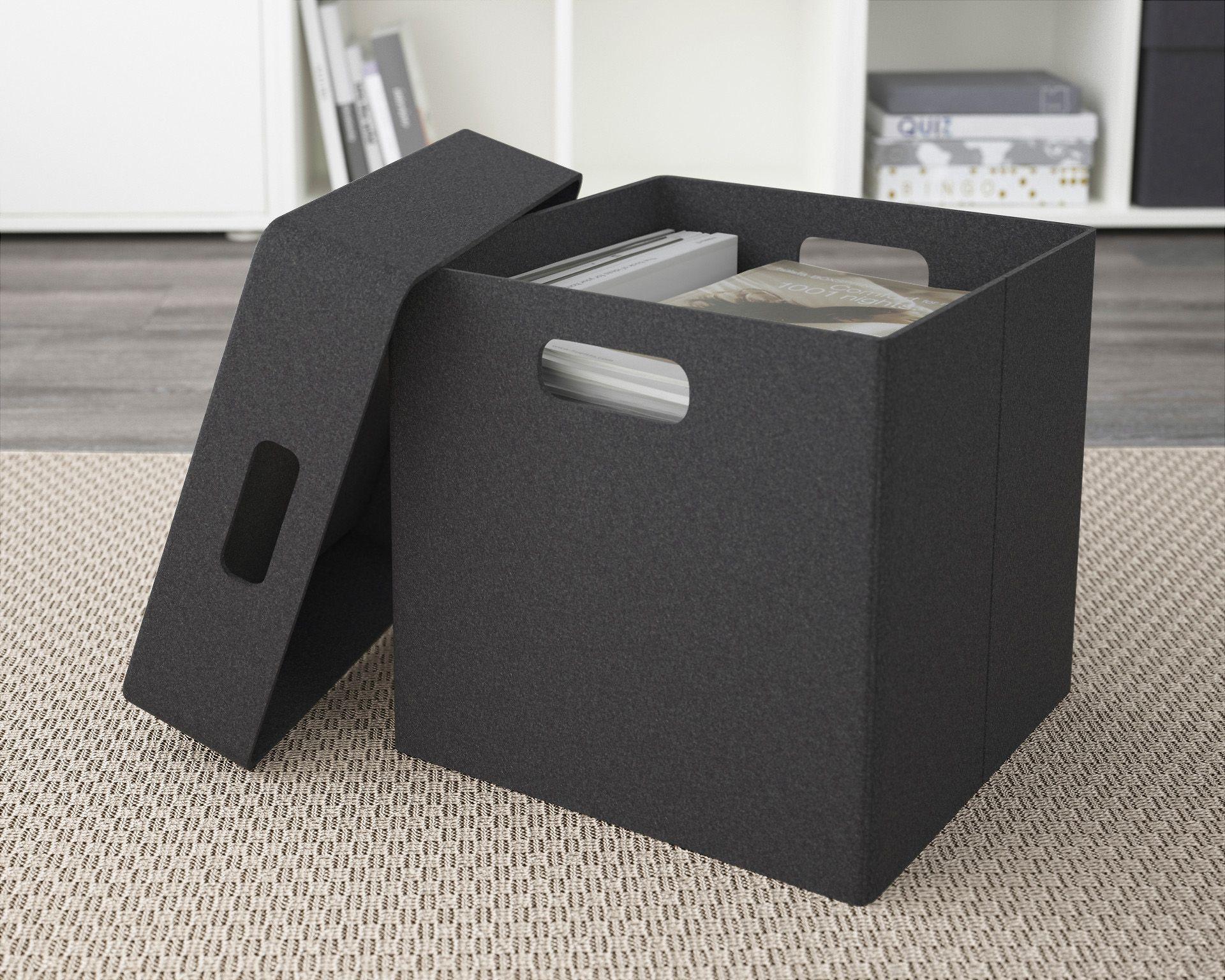 ダークグレーの布製ボックス
